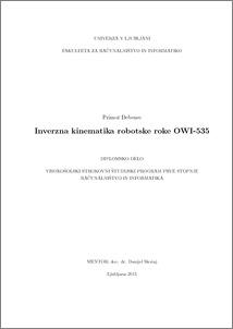 Inverse kinematics of OWI-535 robotic arm - ePrints FRI